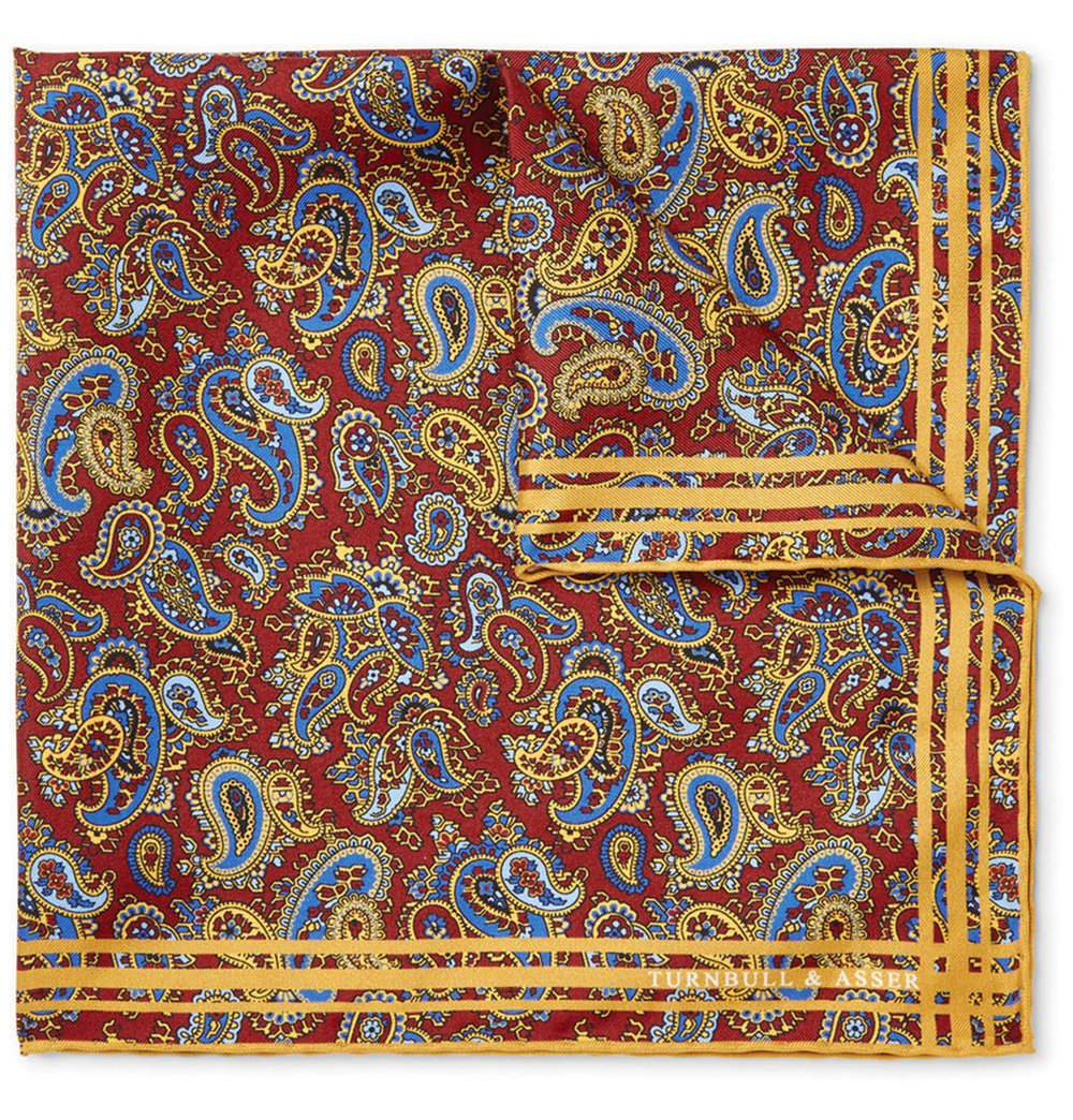 8.Paisley-Print Silk-Twill Pocket Square by Turnbull & Asser $124,  mrporter.com