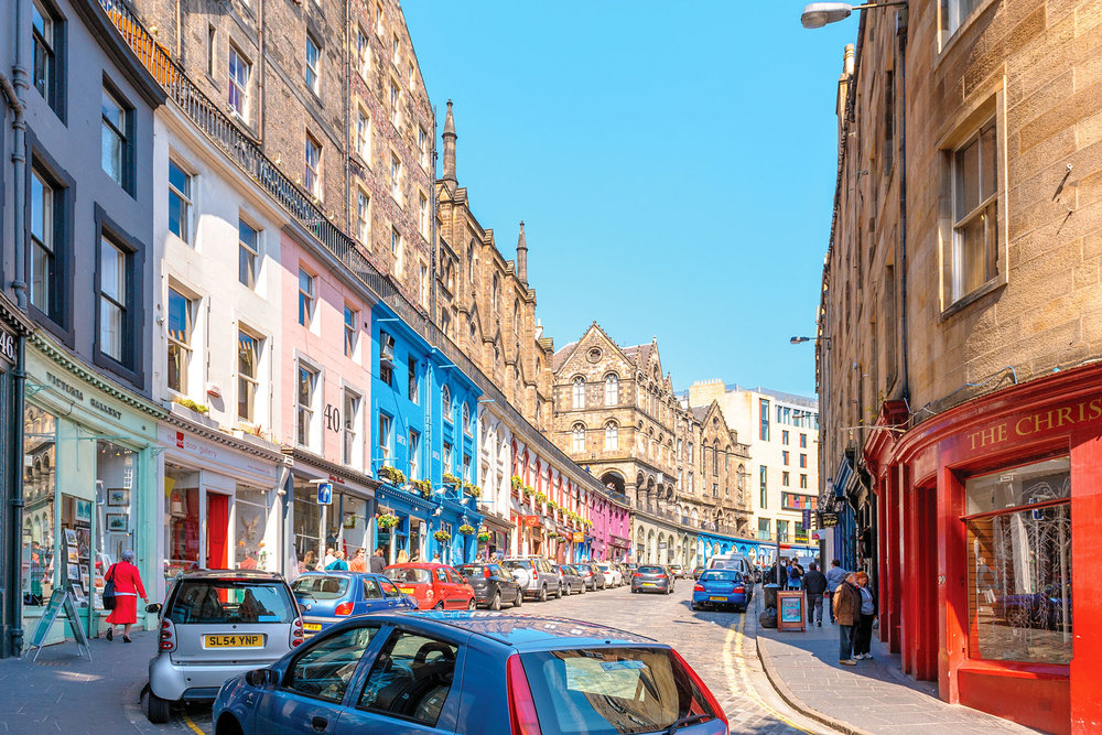 The colourful Victoria Street still houses some of the best independent shops in Scotland.