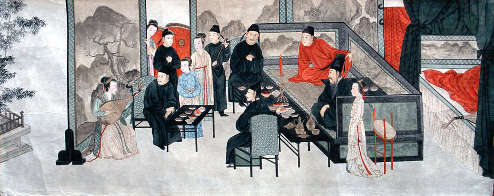 In classical Chinese painting, copying the classics is an essential step in mastering one's craft. This painting is Zhang's vibrant copy of the masterpiece Night Revels of Han Xizai.