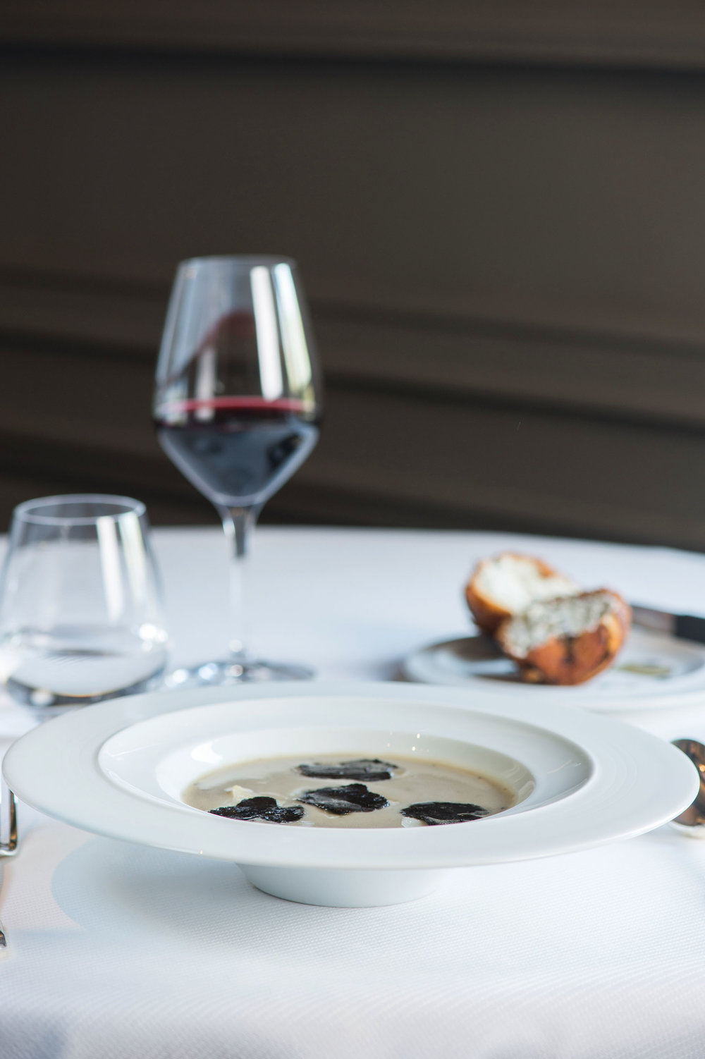 Artichoke soup with black truffle; layered truffled mushroom brioche.