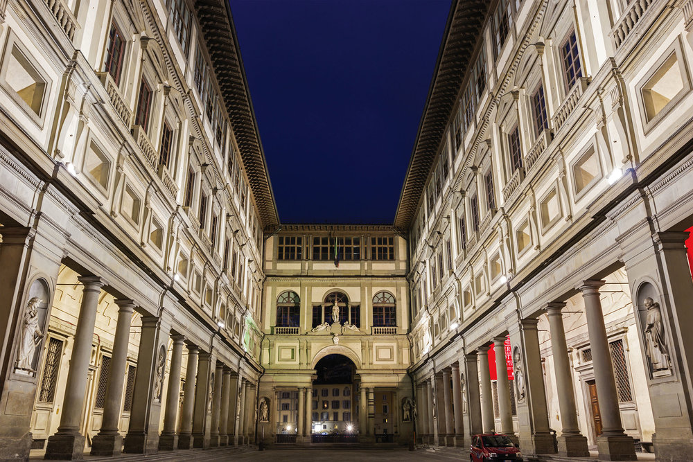 "Uffizi means ""offices"" in Italian, as the museum was originally commissioned by Cosimo I de' Medici as the judiciary and administration. prosiaczeq / Shutterstock.com"