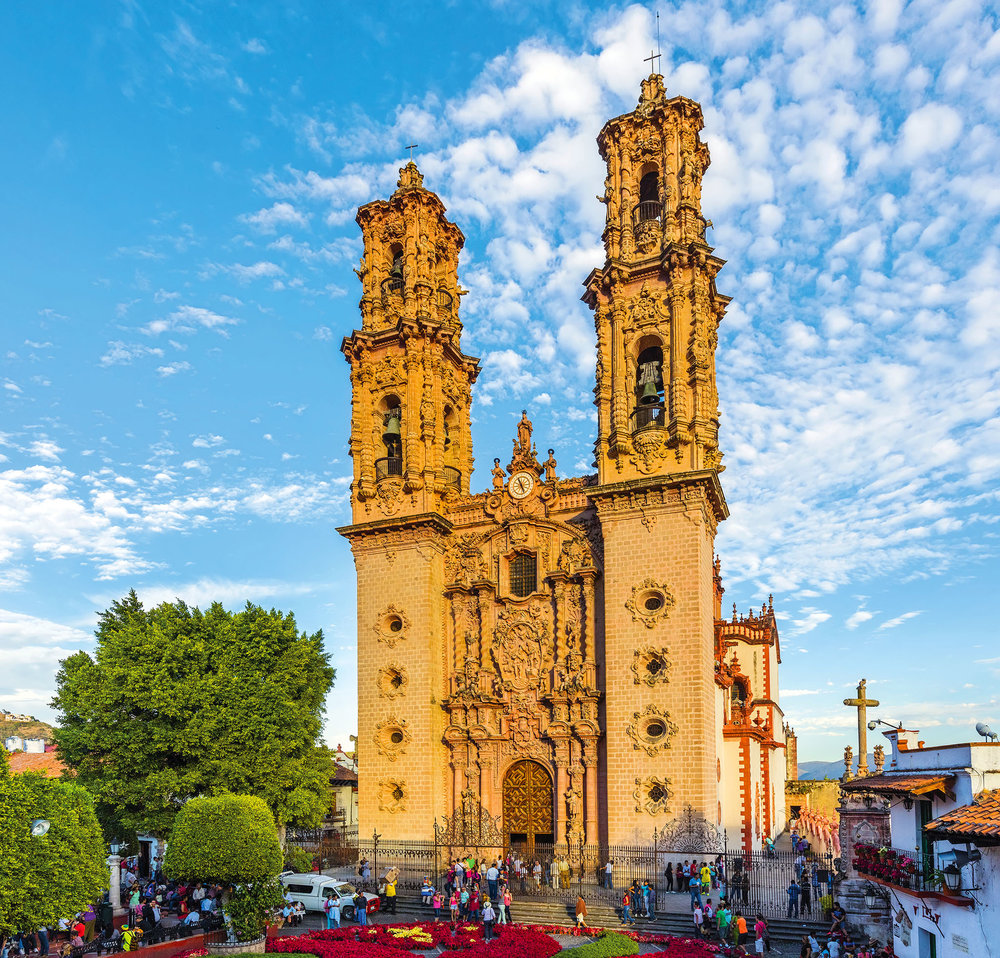 For nearly 50 years, the colonial Santa Prisca cathedral was the tallest building in all of Mexico. Posztos / Shutterstock.com