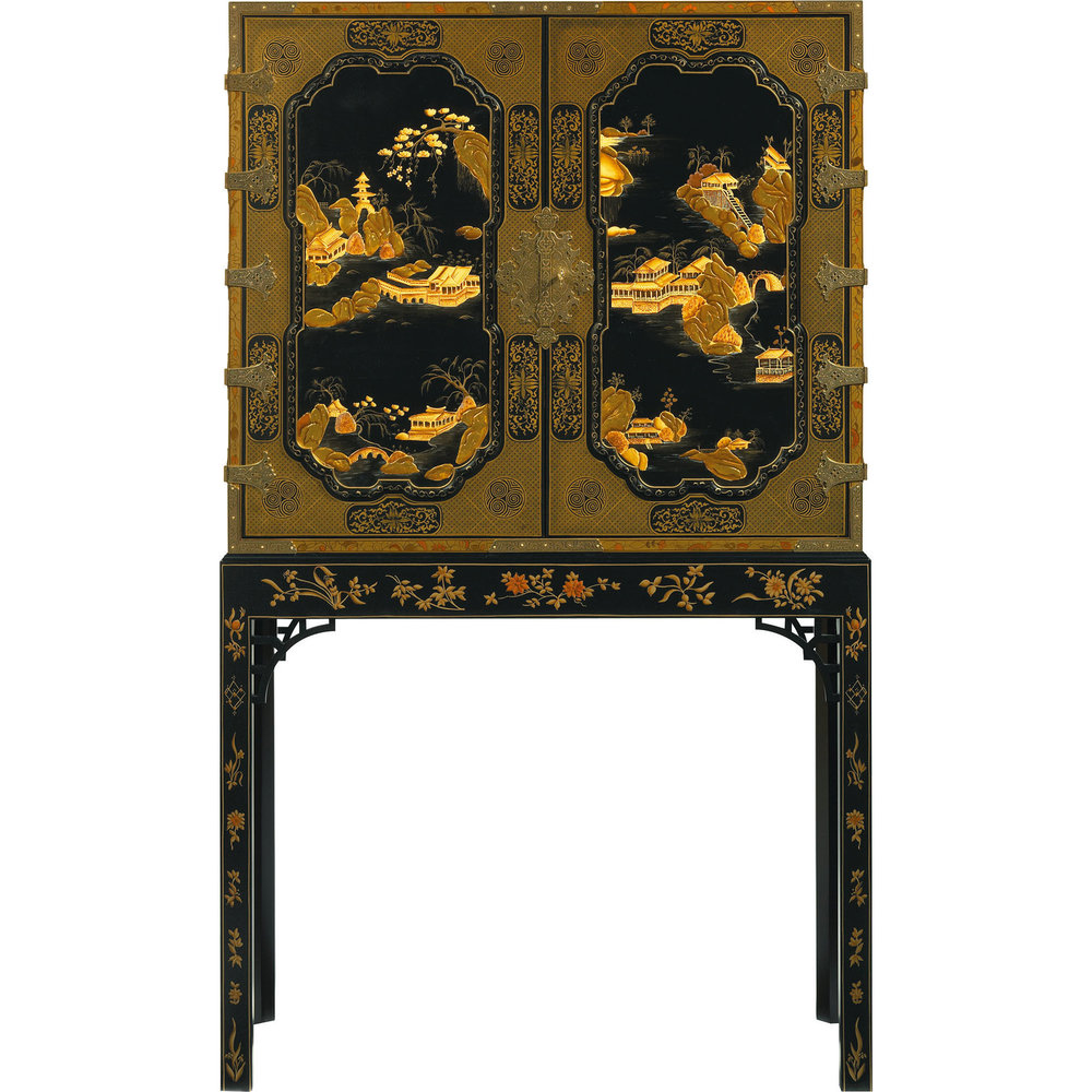 Baker Furniture George III Oriental Lacquer Cabinet  At Brougham Interiors, (604) 736-8822,  broughaminteriors.com
