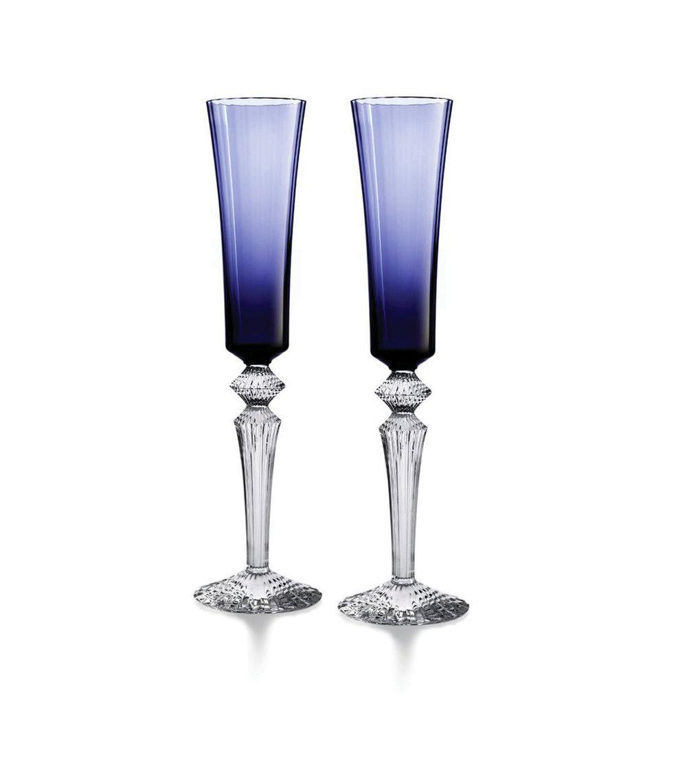 Baccarat Mille Nuits Flutissimo Crystal Champagne Flute, Set of 2 藍色水晶杯兩件套 At Atkinson's, (604) 736-3378, atkinsonsofvancouver.com