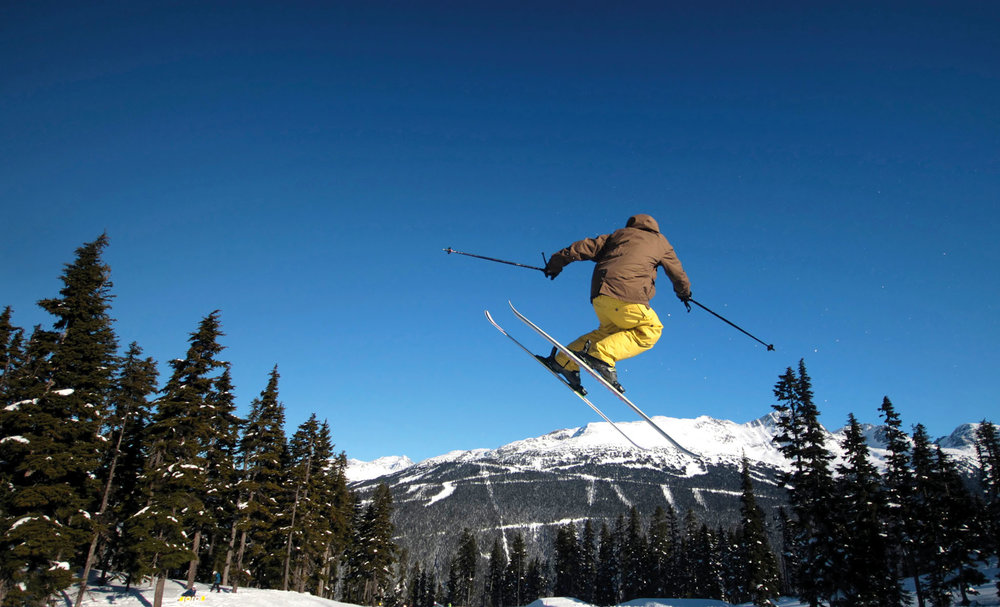 Terrain parks allow skiers to get air.