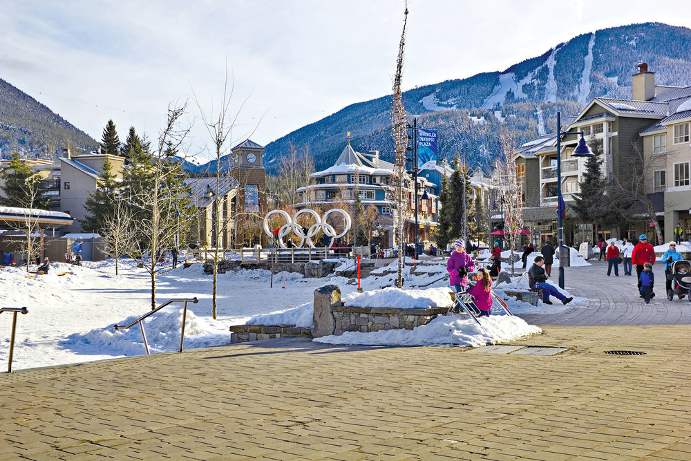 Olympic rings can be seen in the village from the 2010 games. Simply Photos / shutterstock.com