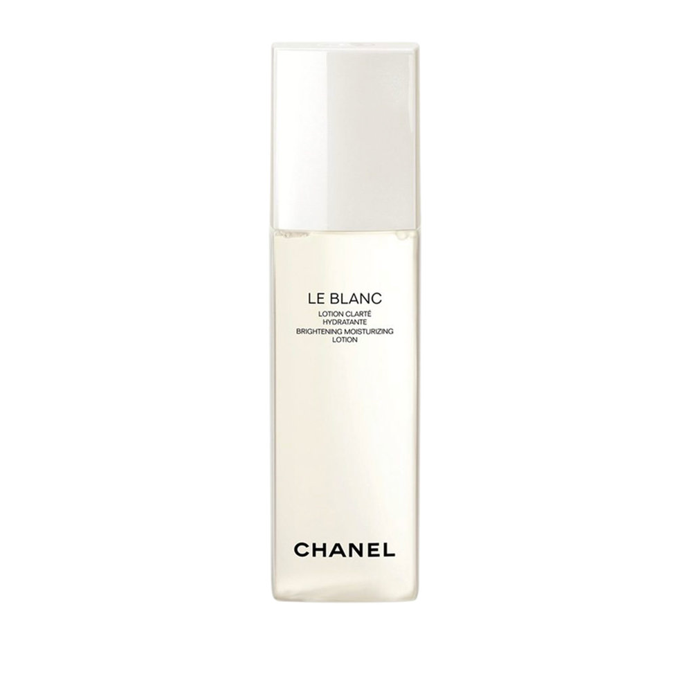 Pearly Brights  LE BLANC Brightening Moisturizing Lotion by CHANEL$80  An extract of Akoya pearls, matured over two years, gives this must-have lotion its supreme hydrating and brightening properties, thanks also to the extract's high glycine concentration. The formula rebalances and diminishes yellow tones for gorgeous, pearl-like glow. Apply to face and neck with fingertips or a cotton pad.