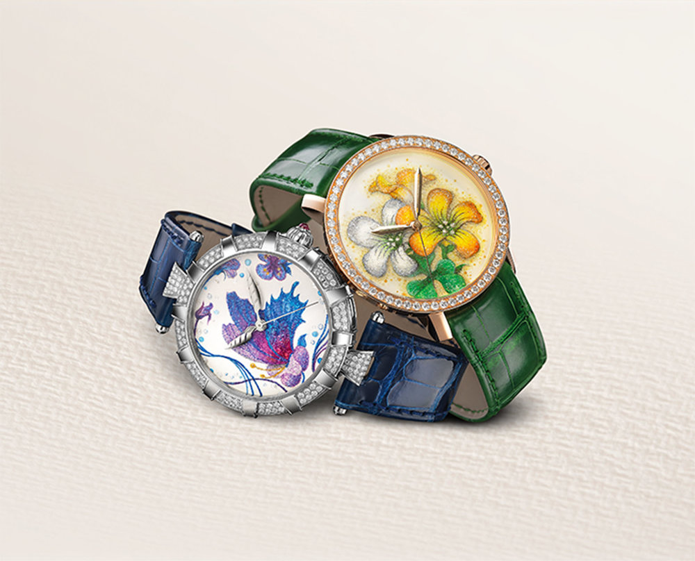 "Classic & Golden Afternoon Japanese Spring DeWitt's women's watches are full of character and originality, but are imbued with femininity. The company partnered with a Japanese artist who is crafting delicate dials using fine powders made of gemstones. The Golden Afternoon ""Japanese Spring"" model features a butterfly and flowers, made from powdered diamond, pearl, gold, lapis lazuli, agate, and others. The hands are shaped like angel wings, and here too, there are the signature imperial columns, reimagined as 12 doors opening onto a beautiful garden. Photos courtesy of DeWitt"