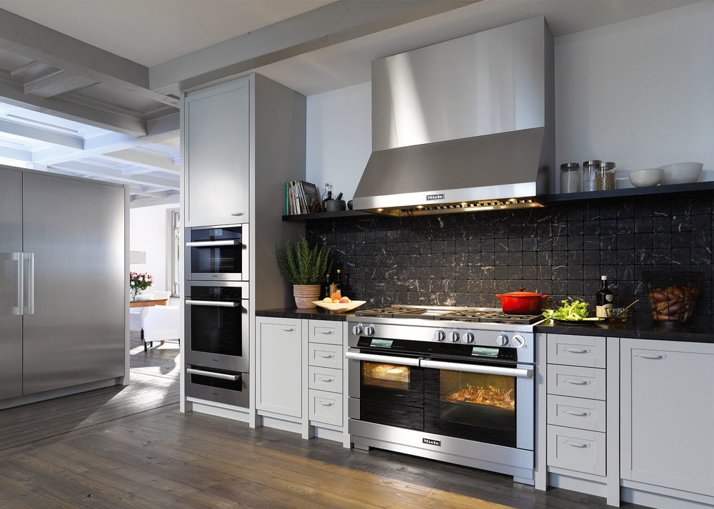 """Miele 48"""" HR 1956 G Dual Fuel M Touch Range with Griddle  Miele 48"""" DAR1250 Wall Range Hood, Stainless Steel  t Miele Centre Vancouver, (866) 758-0462, miele.ca"""