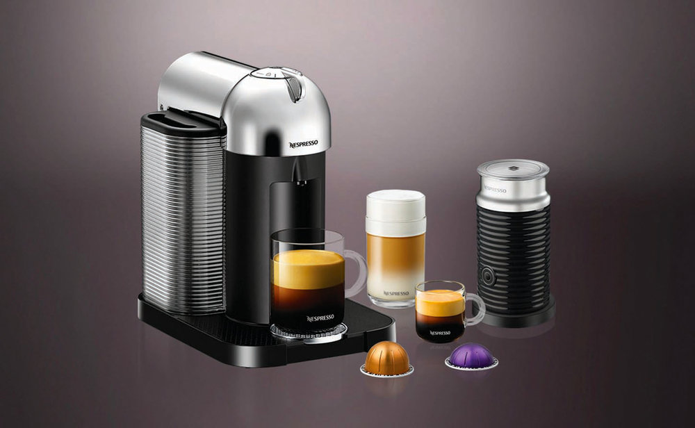 Nespresso Vertuoline Chrome & Aeroccino Coffee Machine At Nespresso Boutique at The Bay, (855) 325-5781, nespresso.com