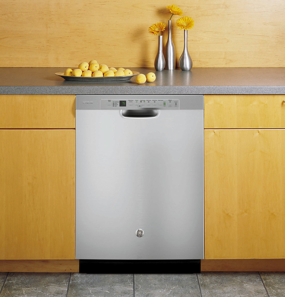 GE Profile Stainless Steel Interior Dishwasher with front controls At Midland Appliance, (604) 278-6131, geappliances.ca