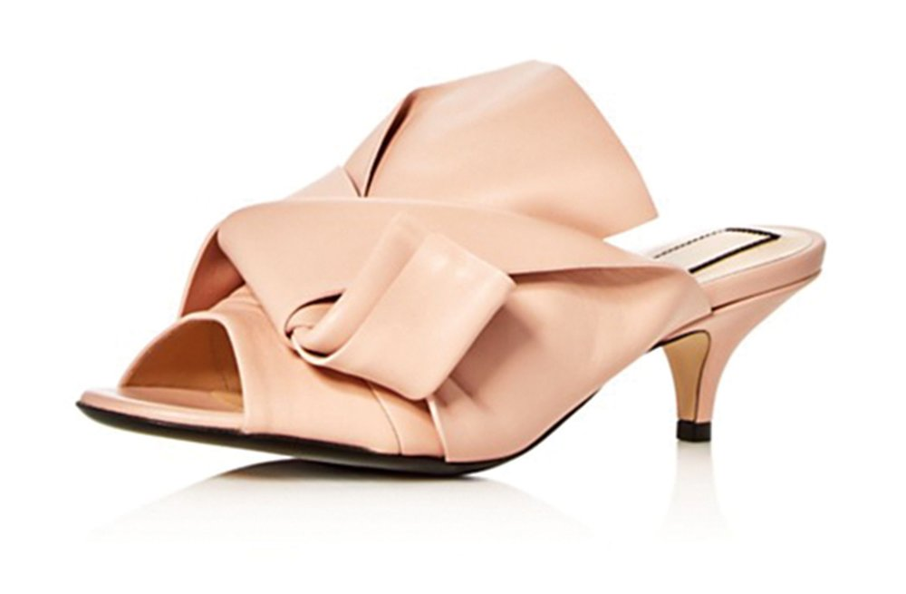 Folded Leather Slide Sandals by No. 21