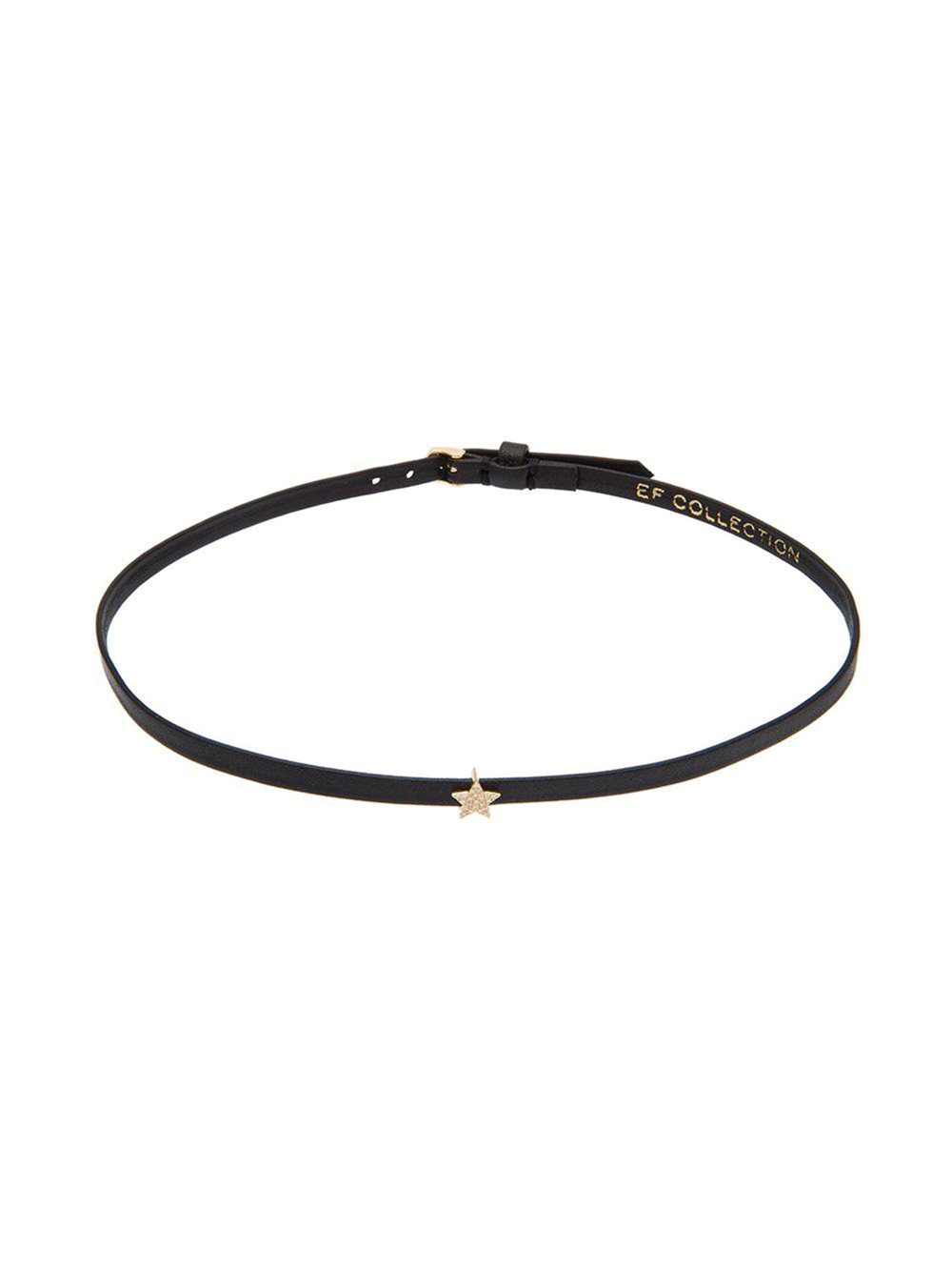 14k Gold Mini Diamond Star Leather Choker by EF Collection