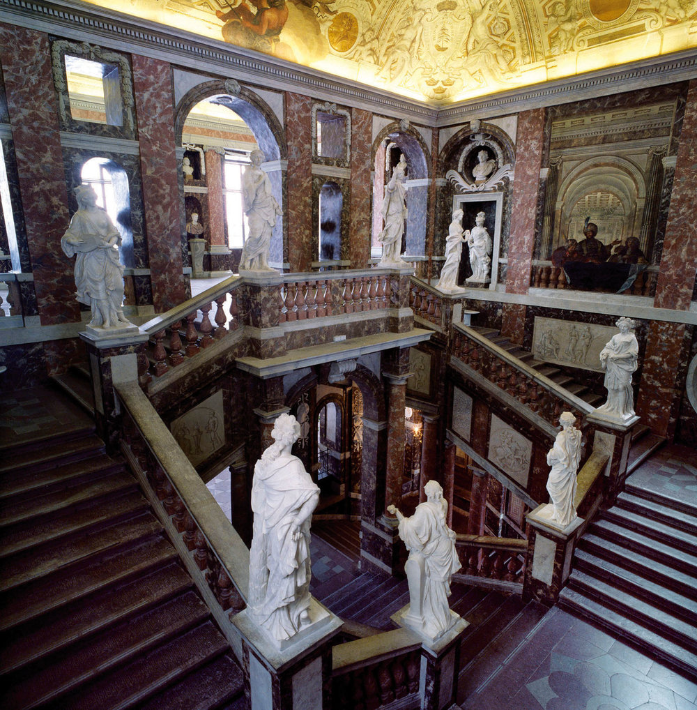 Large statues of the nine muses grace the Great Staircase, which was designed to impress visitors.Photo courtesy of Swedish Royal Court