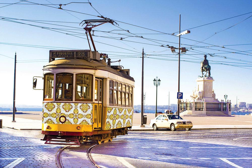 Azulejos even embellish vintage trams in Lisbon.leoks / shutterstock.com
