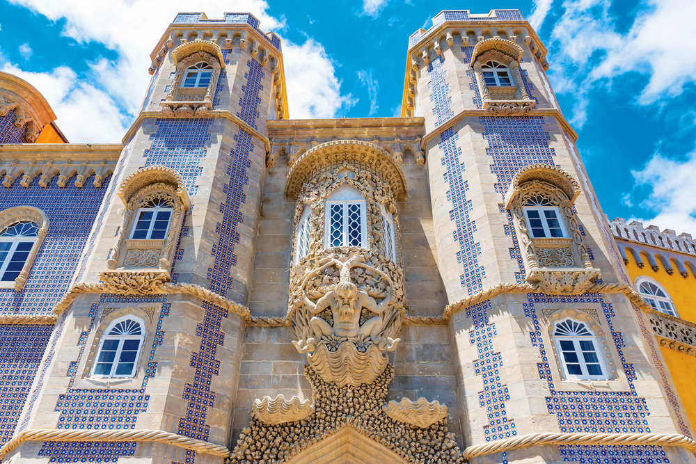 Intricate blue-and-white tiles decorate the Pena Palace in Sintra, Portugal.Takashi Images / shutterstock.com