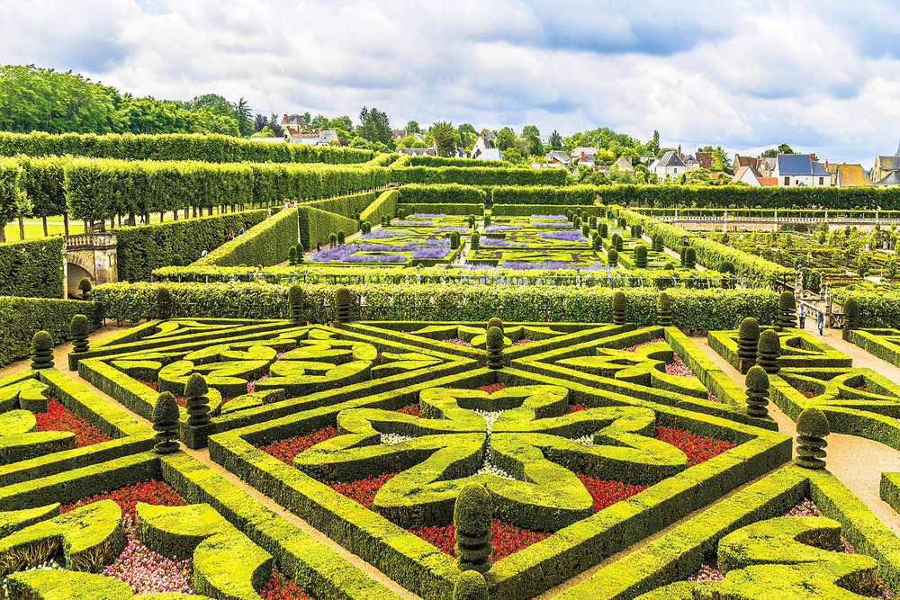 The gardens of Villandry and their shapes were designed to be viewed from the castle above. Kiev.Victor / shutterstock.com