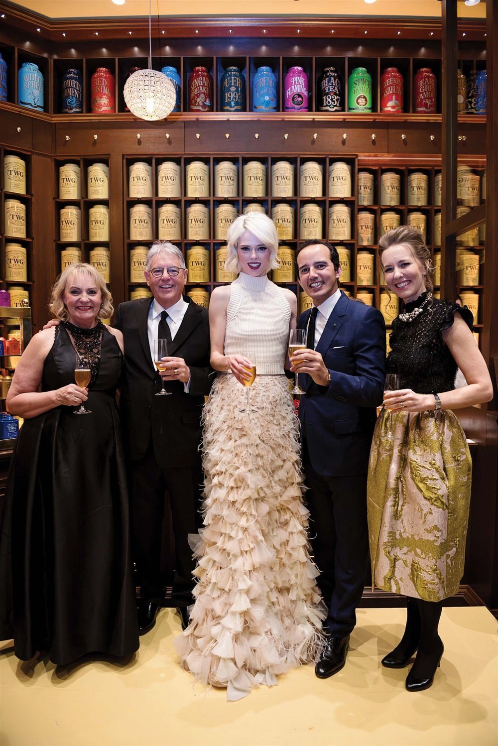 Karinna and Tom James, VanSing Distribution Group, supermodel Coco Rocha and TWG Tea cofounders Taha Bouqdib and Maranda Barnes.
