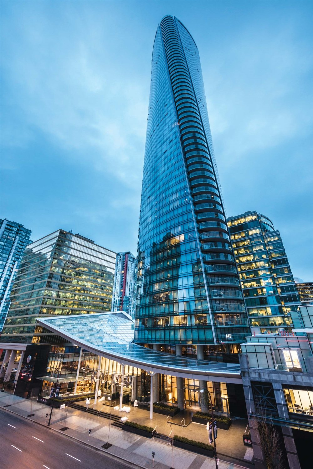 The Trump International Hotel & Tower's distinctive twisting architecture is an icon in the downtown Vancouver landscape.