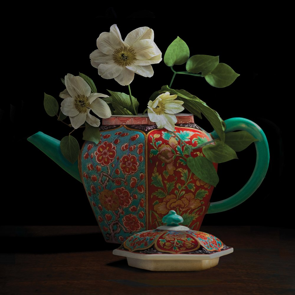"""Still life with white Clematis in a Chinese teapot (courtesy of Gardiner Ceramic Museum), 60""""x60"""""""