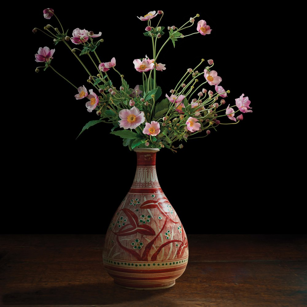 """Still life with Anemones in a Japanese vase (courtesy of Gardiner Ceramic Museum), 60""""x60"""""""
