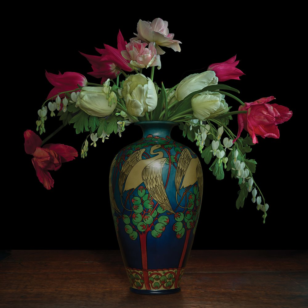 """Still life with Parrot Tulips in a Japanese vase (courtesy of Gardiner Ceramic Museum), 60""""x60"""""""