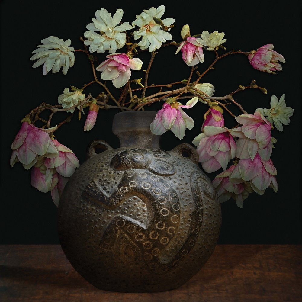 """Still life with Magnolias in an ancient American vessel (courtesy of Gardiner Ceramic Museum), 60""""x60"""""""