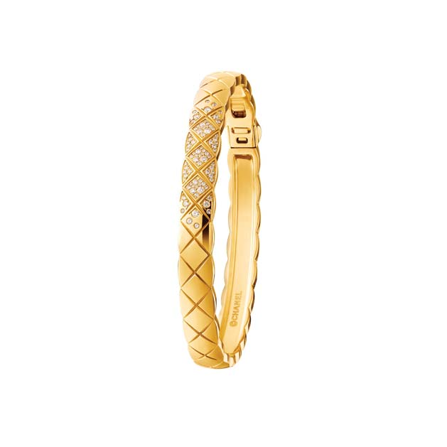 Coco Crush 18k Gold Bangle Bracelet with Diamonds by CHANEL