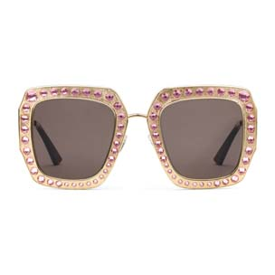 Oversize Square-Frame Metal Sunglasses by Gucci $1,415