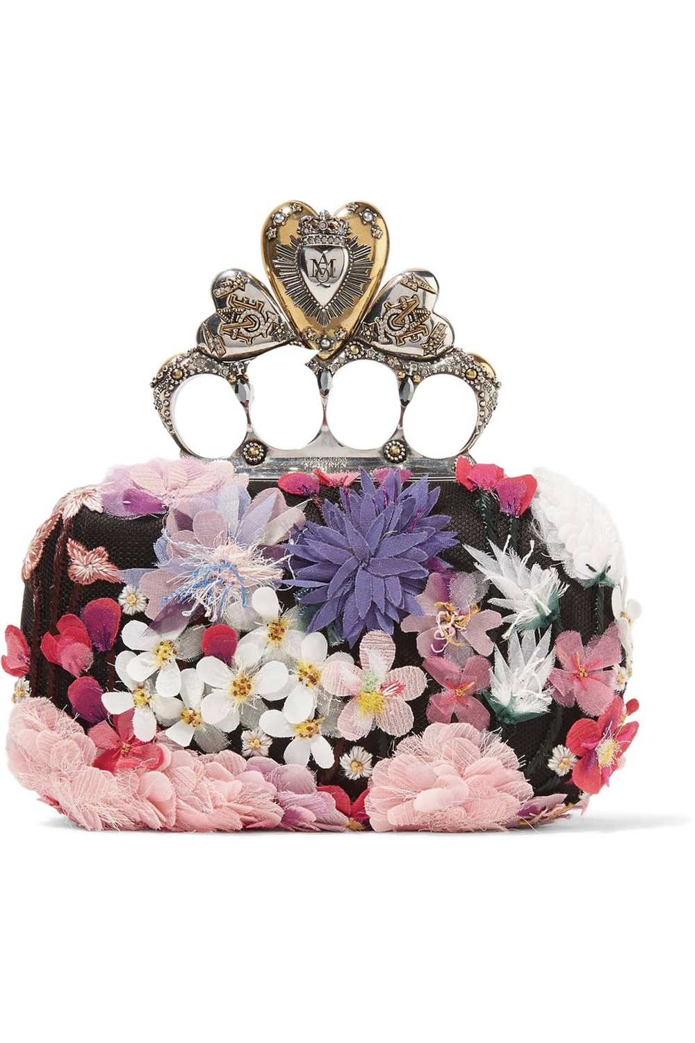Knuckle Floral-Appliquéd Satin Clutch by Alexander McQueen $4,780