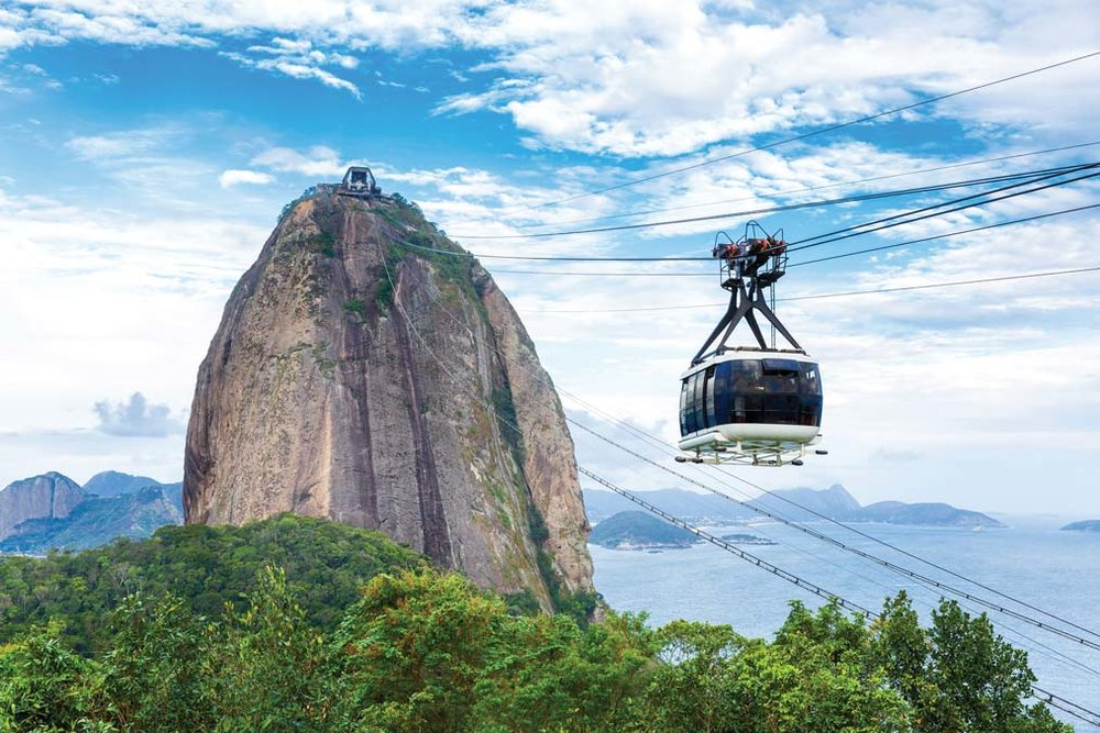 The funicular travels up to the summit of Sugarloaf Mountain. Cable car: Filipe Frazao / Shutterstock.com