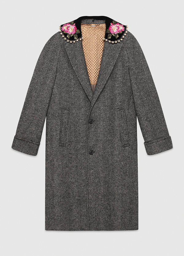 Herringbone Coat with Embroidery by Gucci