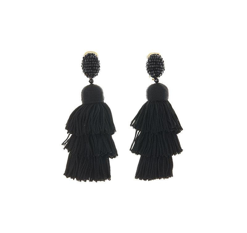 Long Silk Tiered Tassel Earrings by Oscar de la Renta