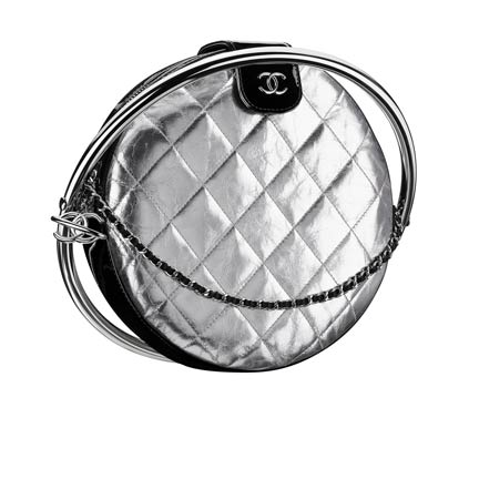 Silver Quilted Leather and Metal Minaudiere by CHANEL