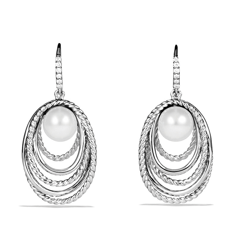 Crossover Drop Earrings with Pearls and Diamonds by David Yurman