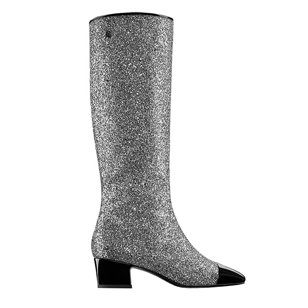 Sequined Silver Black Patent Leather Toe Caps Boots by CHANEL