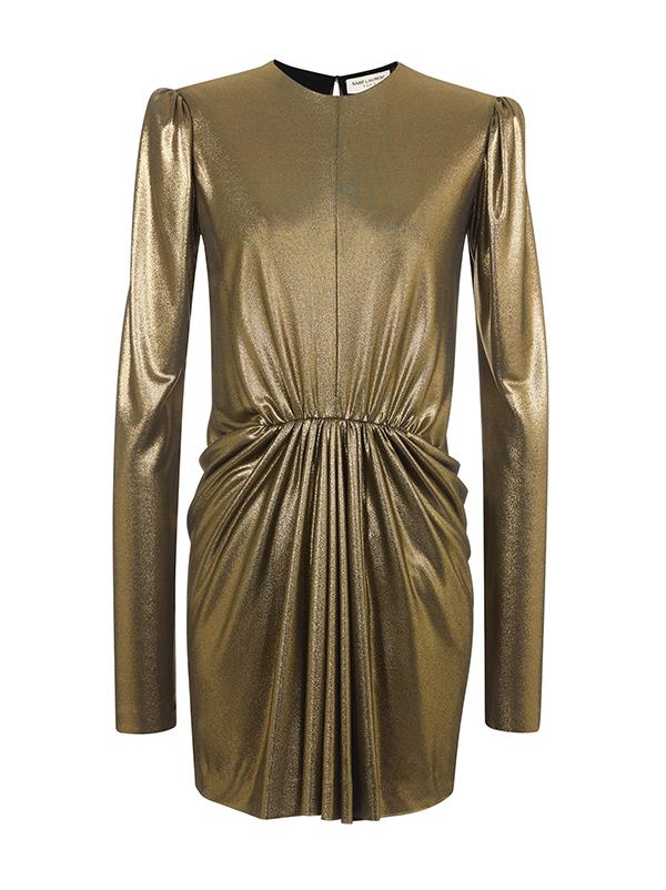 Gold Metallic Long Sleeve Jersey Dress by Saint Laurent