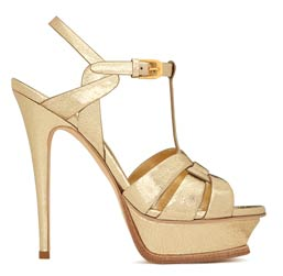 Pale Gold Cracked Metallic Leather Tribute 105 Sandal by Saint Laurent