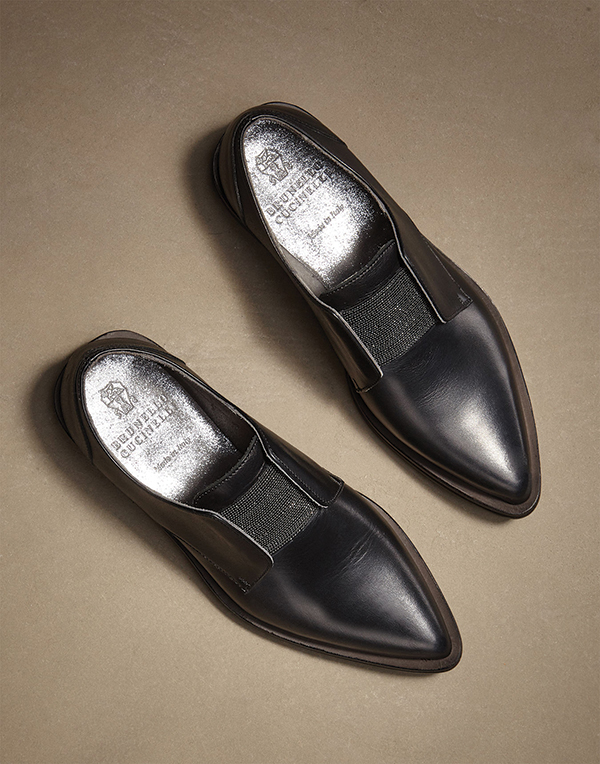 Matt Calfskin and Monili Derby Shoes by Brunello Cucinelli