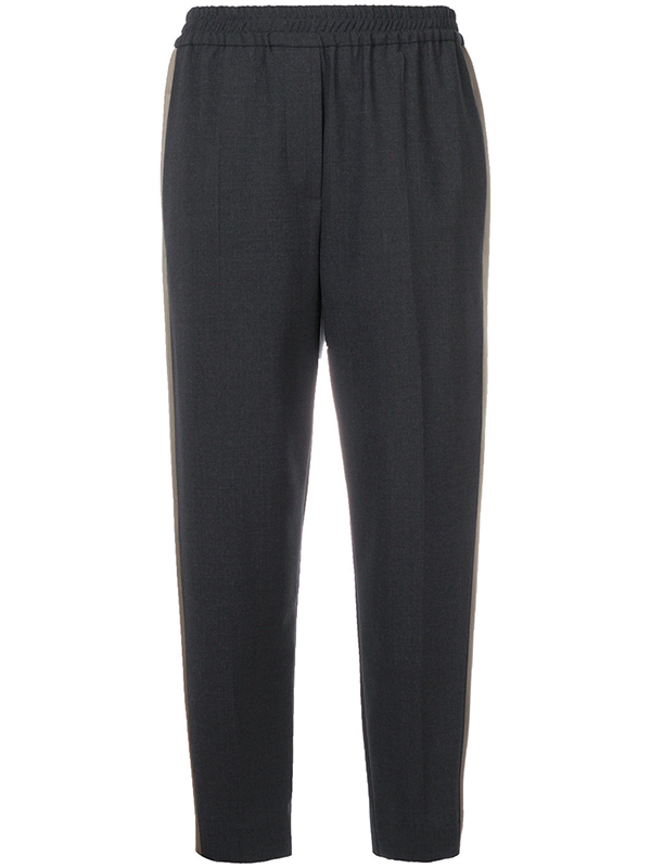 Tropical Luxury Stretch Wool Fluid Pull-Up Cigarette Trousers by Brunello Cucinelli