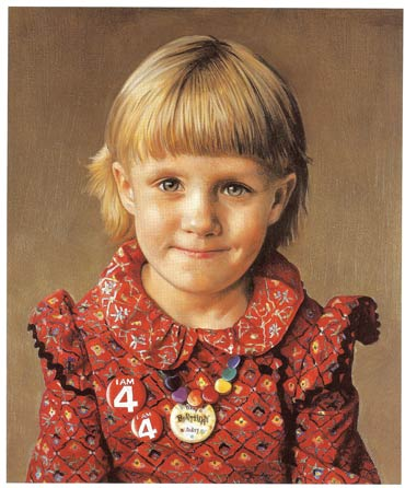 """Sir Gerald Kelly tasked the teenage Stone to paint dozens of white peaches, since """"the bloom of the peach is very close to the bloom on the human skin,"""" says Stone. Here, Stone's portrait of his young daughter, Flavia Stone.Copyright Richard Stone"""