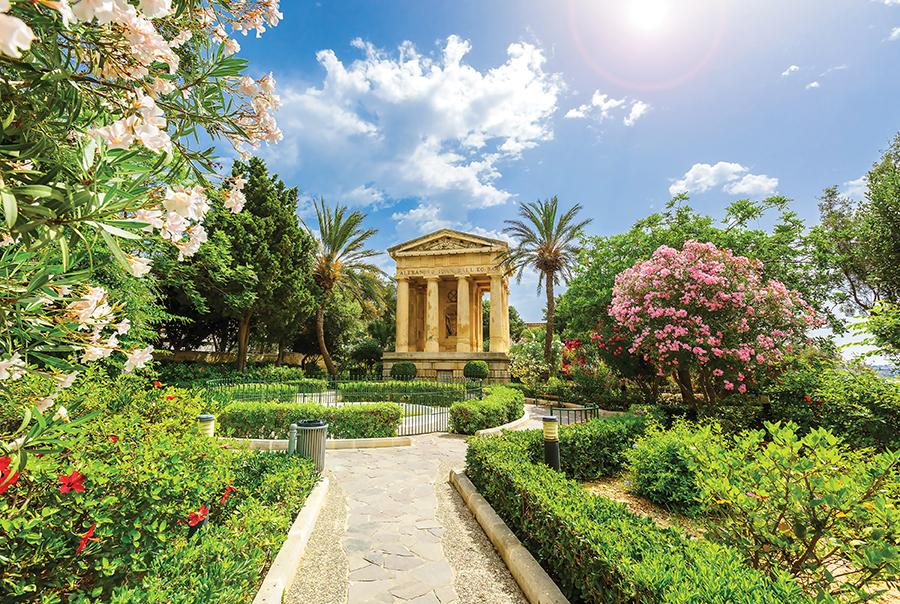 Lower Barrakka public garden and the monument to Alexander Ball in old town Valletta.Littleaom / Shutter