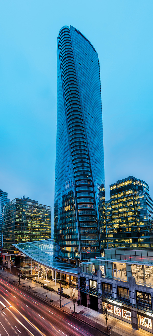 The Arthur Erickson-designed tower reflects the natural beauty of Vancouver's surrounding mountains and water.