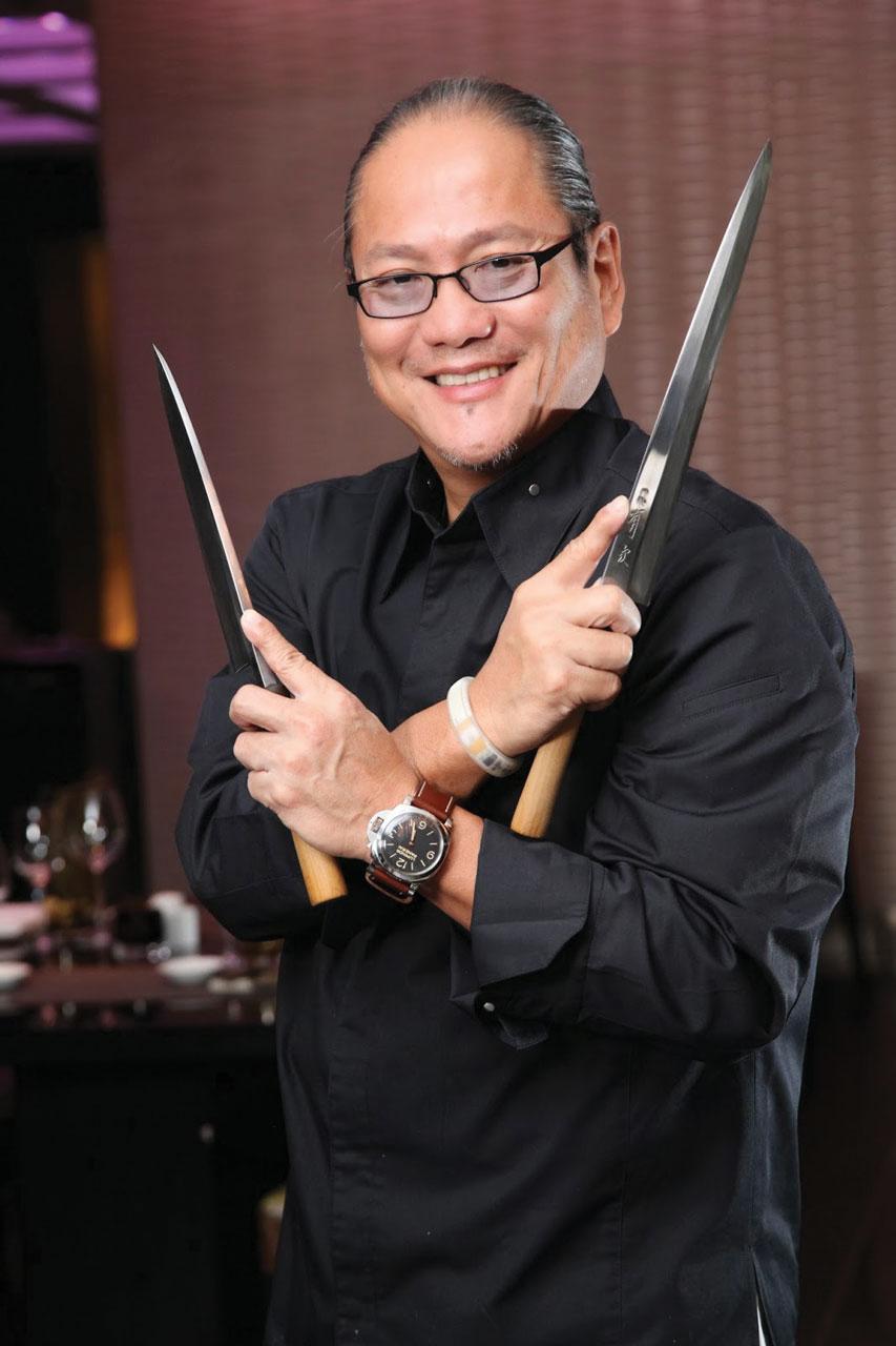 Chef Morimoto with his favourite kitchen instruments.