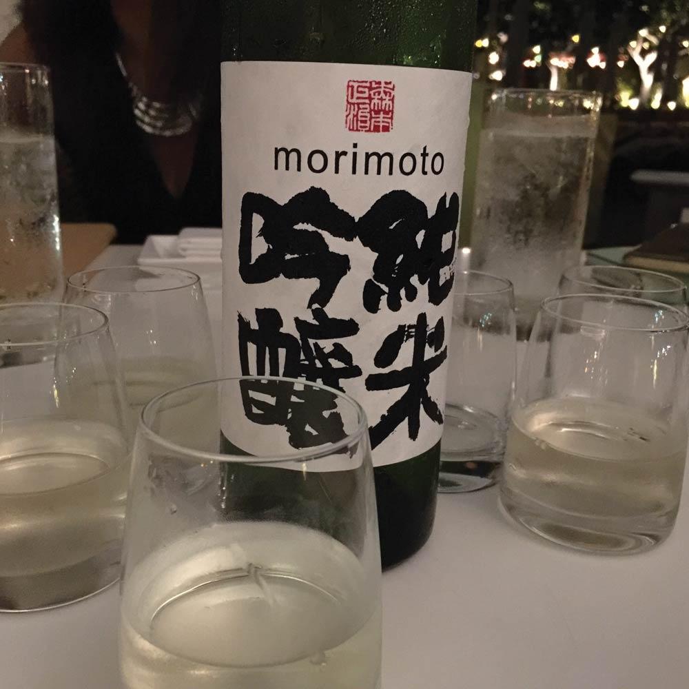 Bottles of Morimoto Sake.