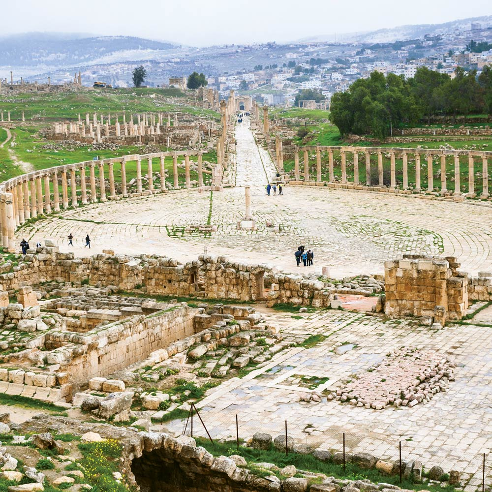 The long cardo maximus leads into the colonnaded forum.  vvoe / Shutterstock.com
