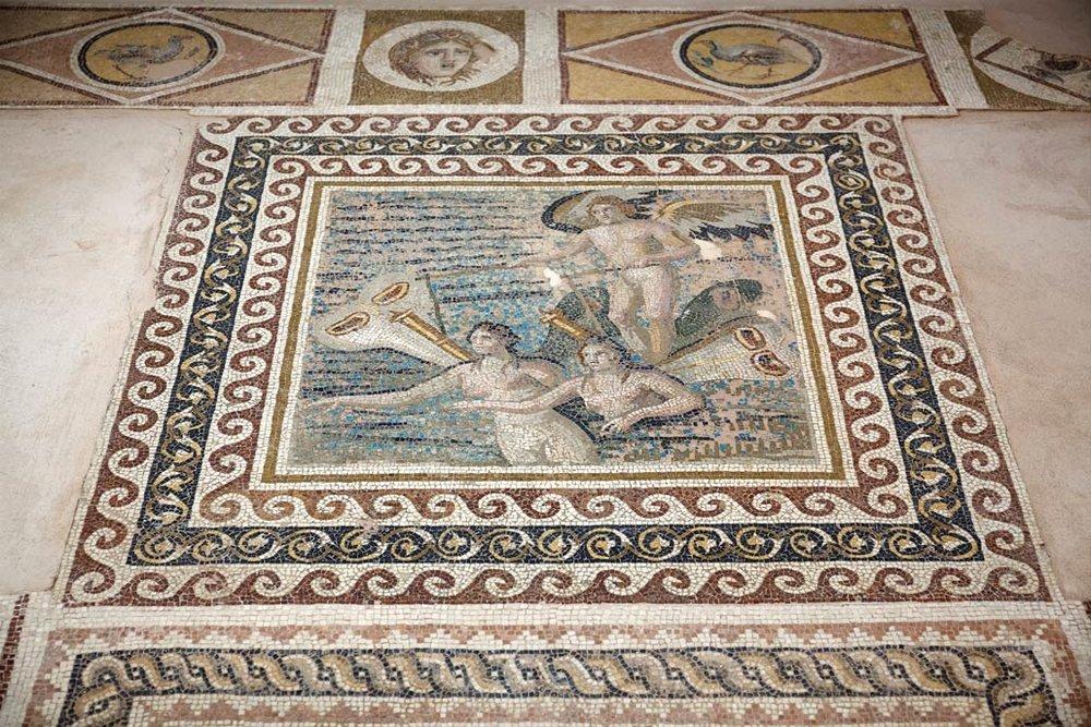 Mosaic exhibit in New Hatay Archeology Museum, Turkey.