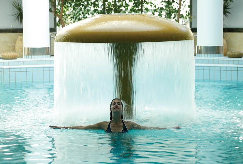 Natural thermal waters are pumped into pools designed for rest and relaxation.