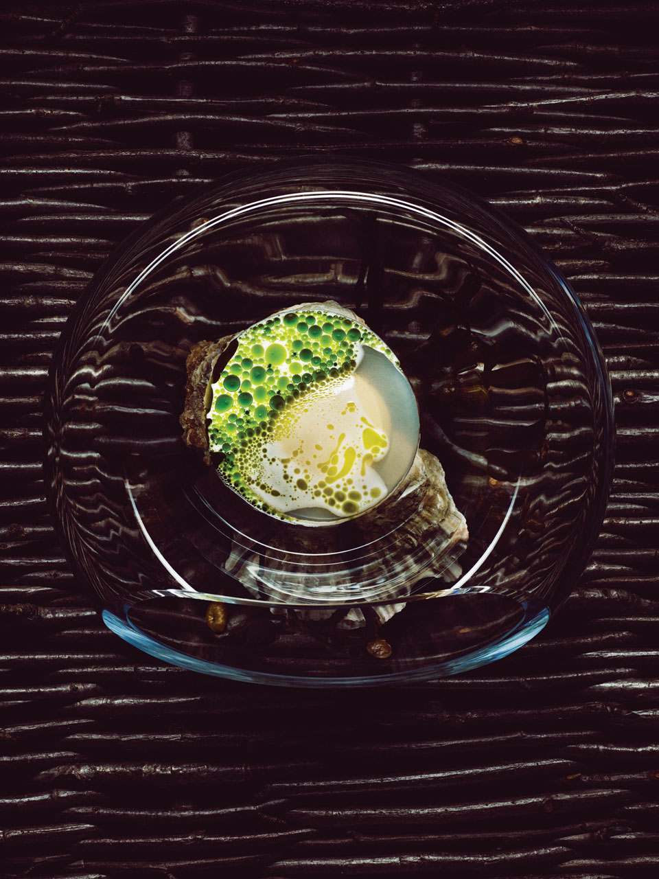 Norwegian oyster with a gel of blue mussel and oyster juice served with a warm sauce of mussel and dill essence.Photography by Tuukka Koski