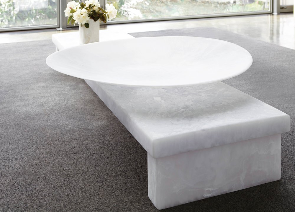 Comox Coffee Table and Giant Pemberton Platter, in white marble resin;Photography by Raeff Miles